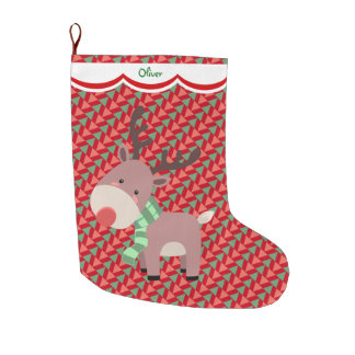 Funny Reindeer Pattern Personalized Large Christmas Stocking