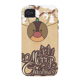 Funny reindeer Vintage style christmas Case-Mate iPhone 4 Covers