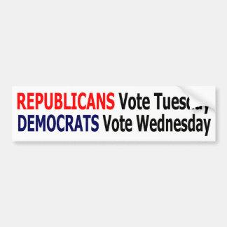 Funny Republicans Vote Tuesday Bumper Sticker