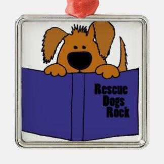 Funny Rescue Dog Reading Rescue Book Christmas Ornament