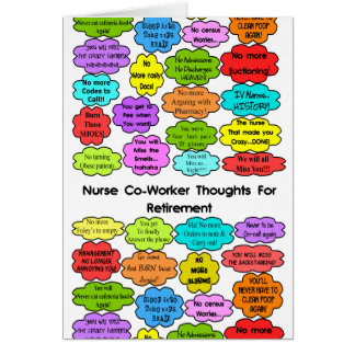Funny Retired Nurse Gifts Co-Worker Thoughts Greeting Card