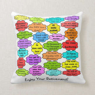 Funny Retired Nurse Pillow Co-Worker Thoughts Cushions