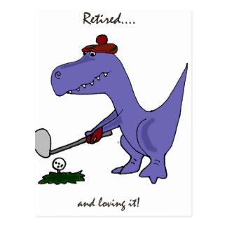 Funny Retired T-Rex Dinosaur Gofing Postcard