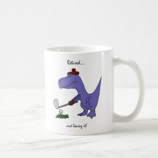 Funny Retired T-Rex Dinosaur Golfing Basic White Mug