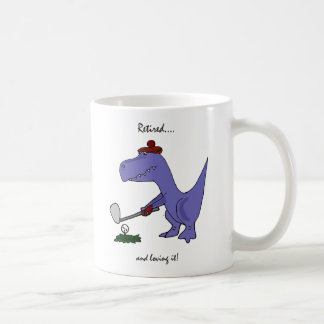 Funny Retired T-Rex Dinosaur Golfing Coffee Mug
