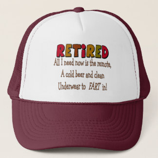 "Funny Retirement  Gifts ""Cold Beer, Remote, Fart"" Trucker Hat"