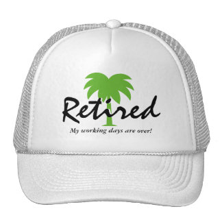 Funny retirement hat with palm tree logo