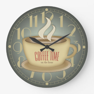 Funny Retro Coffee Time Custom Color Wall Clock
