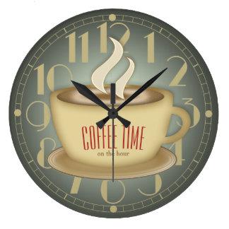 Funny Retro Coffee Time Custom Colour Wall Clock