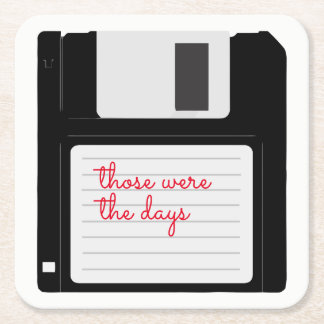 Funny Retro Floppy Disc Square Paper Coaster