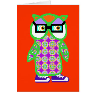 Funny Retro Green Hipster Owl Blank Greeting Card