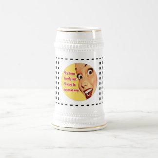 Funny Retro Housewife SCREAM Funky Beer Stein Beer Steins