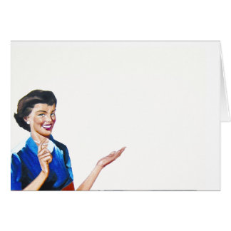Funny Retro Housewife with Washing Machine Greeting Card