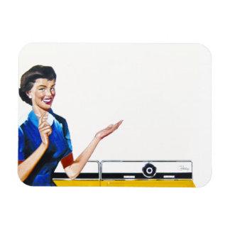 Funny Retro Housewife with Washing Machine Rectangular Photo Magnet