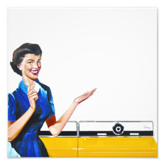 Funny Retro Housewife with Washing Machine Photographic Print
