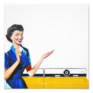 Funny Retro Housewife with Washing Machine Photo Print