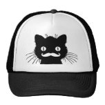 FUNNY RETRO MUSTACHE ON BLACK KITTY CAP
