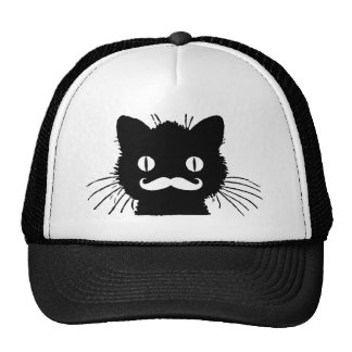 FUNNY RETRO MUSTACHE ON BLACK KITTY CAP
