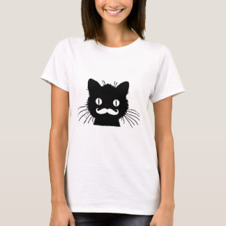 FUNNY RETRO MUSTACHE ON BLACK KITTY T-Shirt