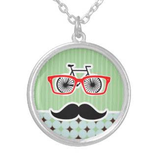 Funny Retro Mustache Sage Green Brown Custom Necklace