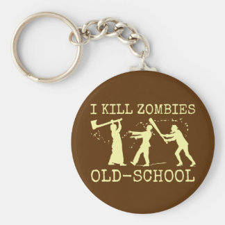 Funny Retro Old School Zombie Killer Hunter Basic Round Button Key Ring