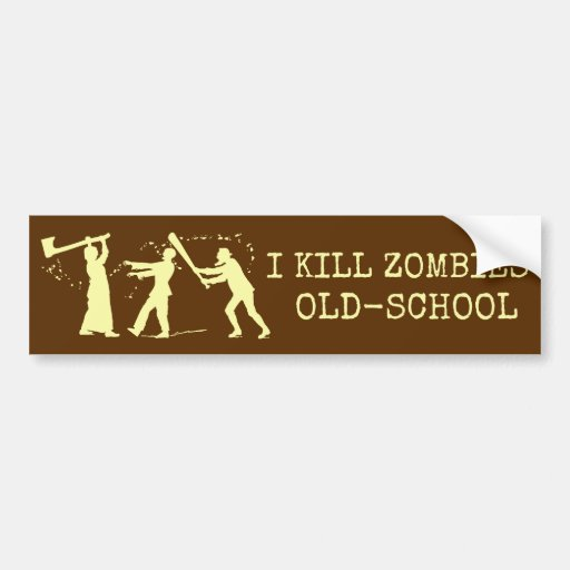 Funny Retro Old School Zombie Killer Hunter Bumper Stickers