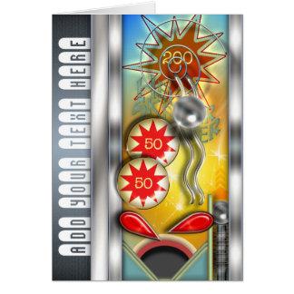 Funny Retro Pinball Machine Personalized Greeting Card