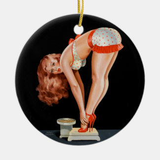 Funny retro pinup girl on a weight scale christmas ornament