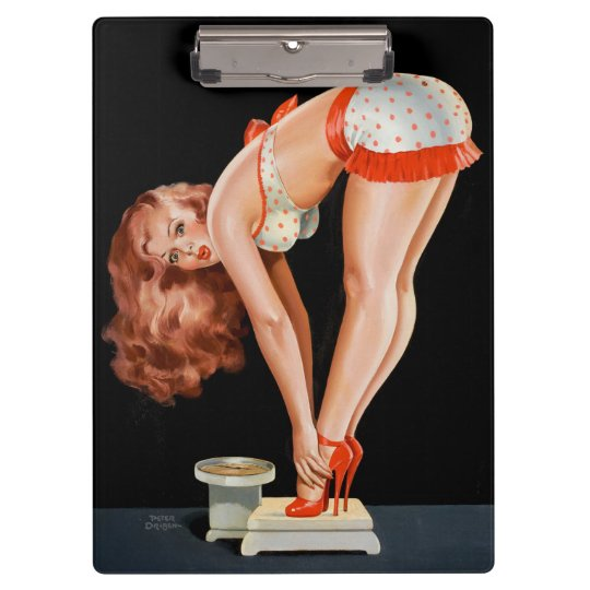 Funny retro pinup girl on a weight scale