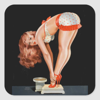 Funny retro pinup girl on a weight scale square sticker