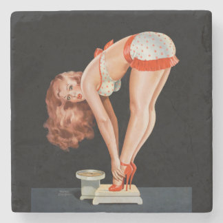 Funny retro pinup girl on a weight scale stone coaster