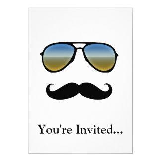 Funny Retro Sunglasses with Moustache 13 Cm X 18 Cm Invitation Card