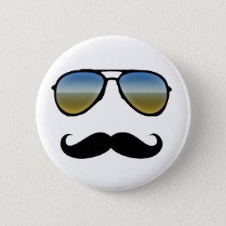 Funny Retro Sunglasses with Moustache 6 Cm Round Badge