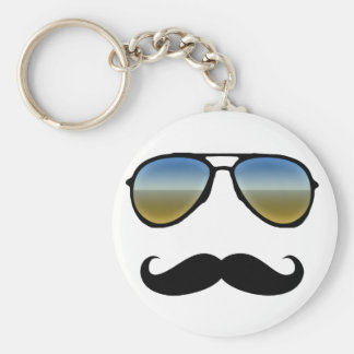 Funny Retro Sunglasses with Moustache Basic Round Button Key Ring
