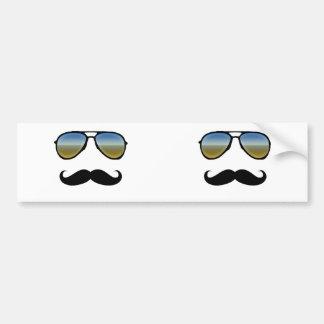 Funny Retro Sunglasses with Moustache Bumper Sticker
