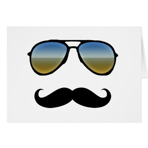 Funny Retro Sunglasses with Moustache Greeting Card