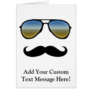 Funny Retro Sunglasses with Moustache Cards