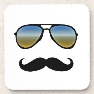 Funny Retro Sunglasses with Moustache Coaster