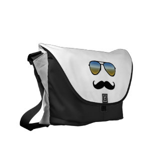 Funny Retro Sunglasses with Moustache Courier Bag
