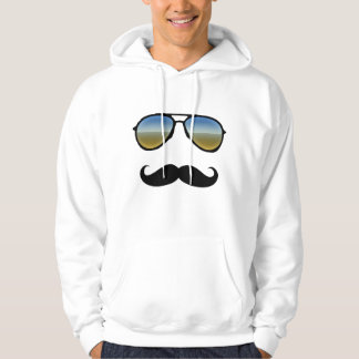Funny Retro Sunglasses with Moustache Hoodie
