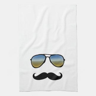 Funny Retro Sunglasses with Mustache Tea Towel