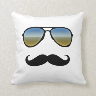 Funny Retro Sunglasses with Mustache Throw Cushions