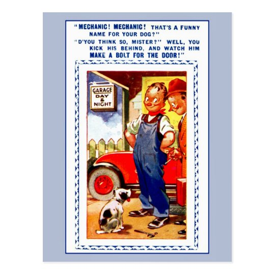 Funny retro vintage mechanic, garage, dog postcard