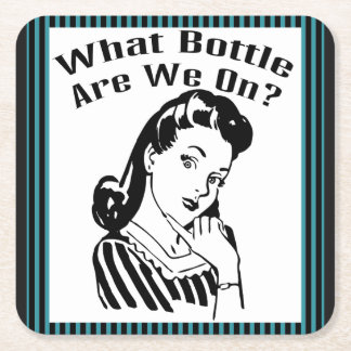 Funny Retro What Bottle Are We On? Square Paper Coaster