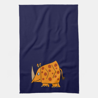Funny Rhino Cartoon Tea Towel