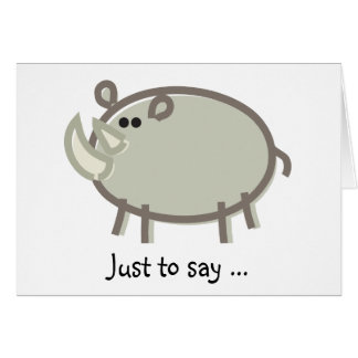 Funny Rhinoceros on White Card