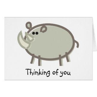 Funny Rhinoceros on White Greeting Card