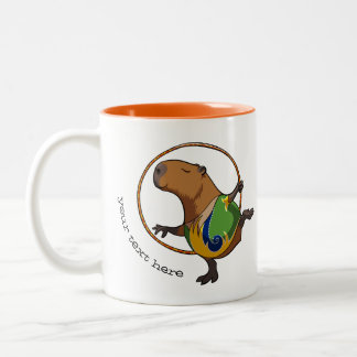 Funny Rhythmic Gymnast Capybara  Hoop Cartoon Two-Tone Coffee Mug