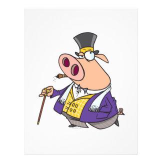 funny rich classy pig hog cartoon flyers