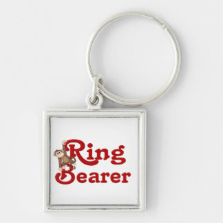Funny Ring Bearer Silver-Colored Square Key Ring
